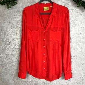 Anthropologie Maeve Flowy Coral Red Blouse